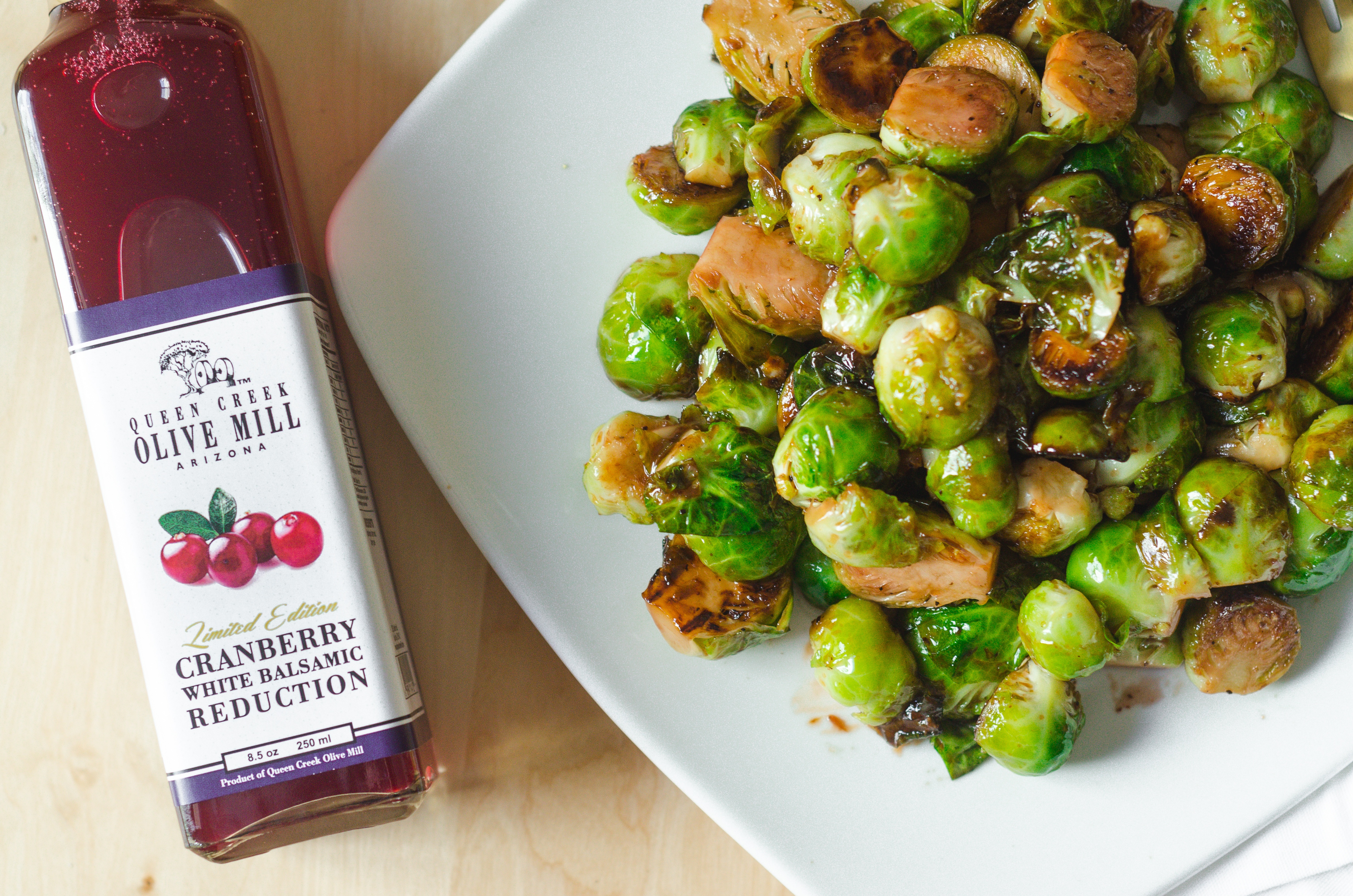 CRANBERRY BALSAMIC GLAZED BRUSSELS SPROUTS