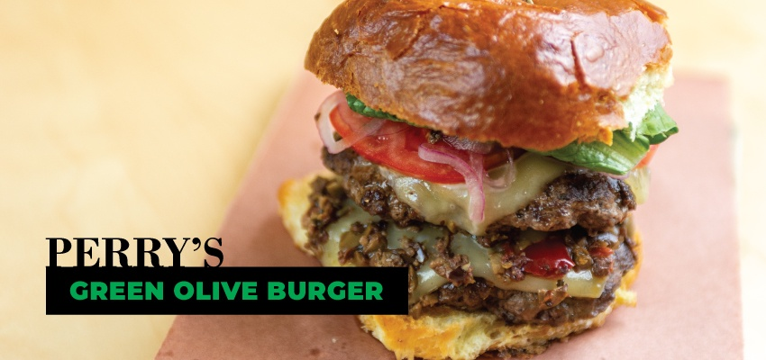 Perry's Green Olive Burger