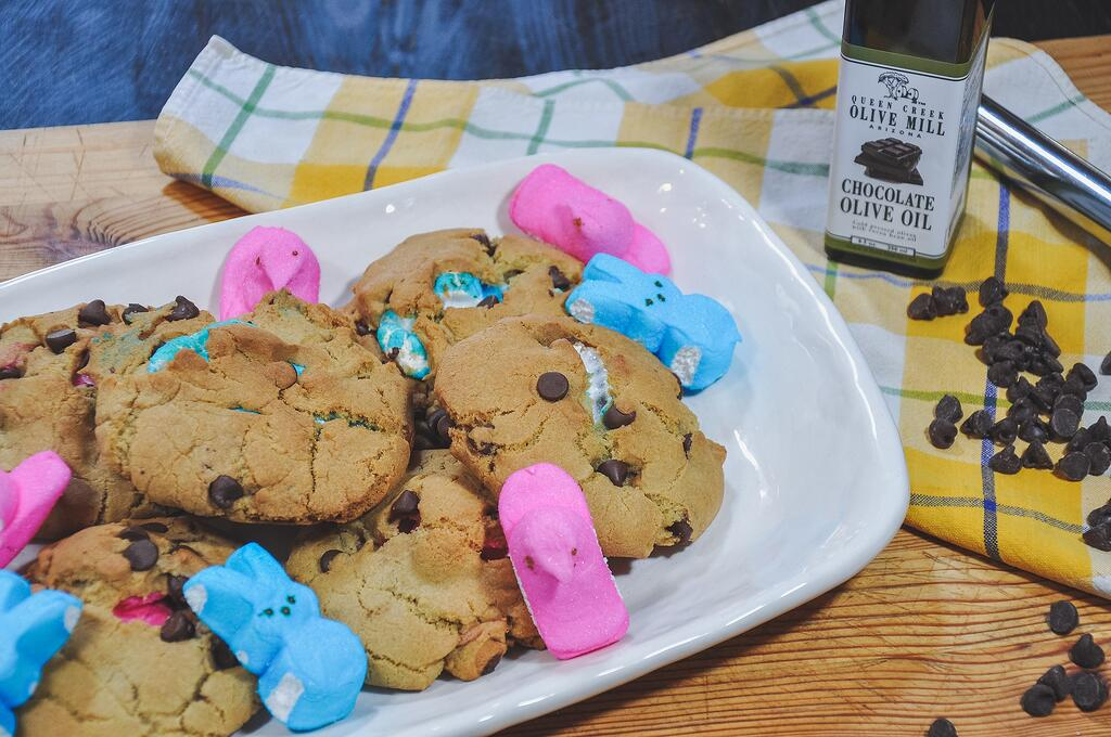 Peeps Stuffed Olive Oil Chocolate Chip Cookies