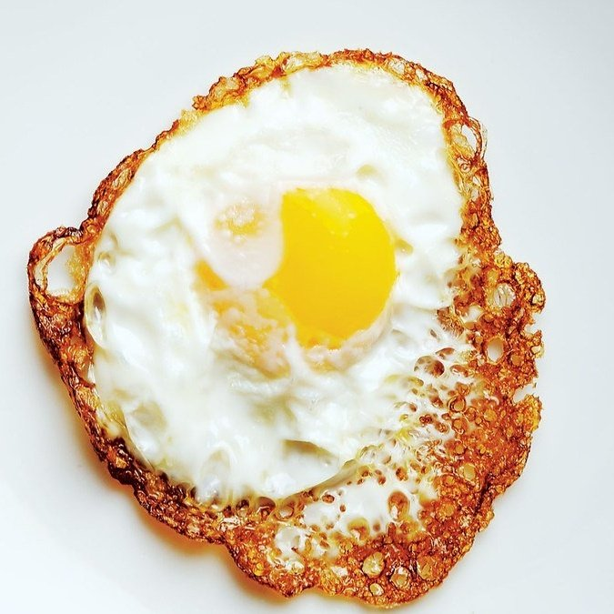 olive oil fried egg square